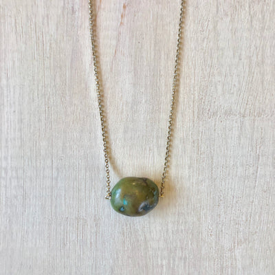 Green Turquoise Single Stone Necklace
