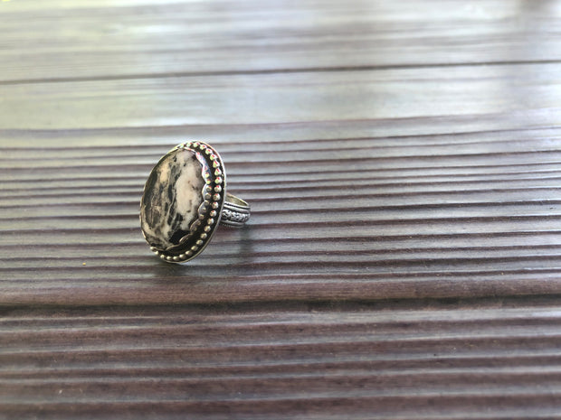 White Buffalo Turquoise Ring (Size 8)