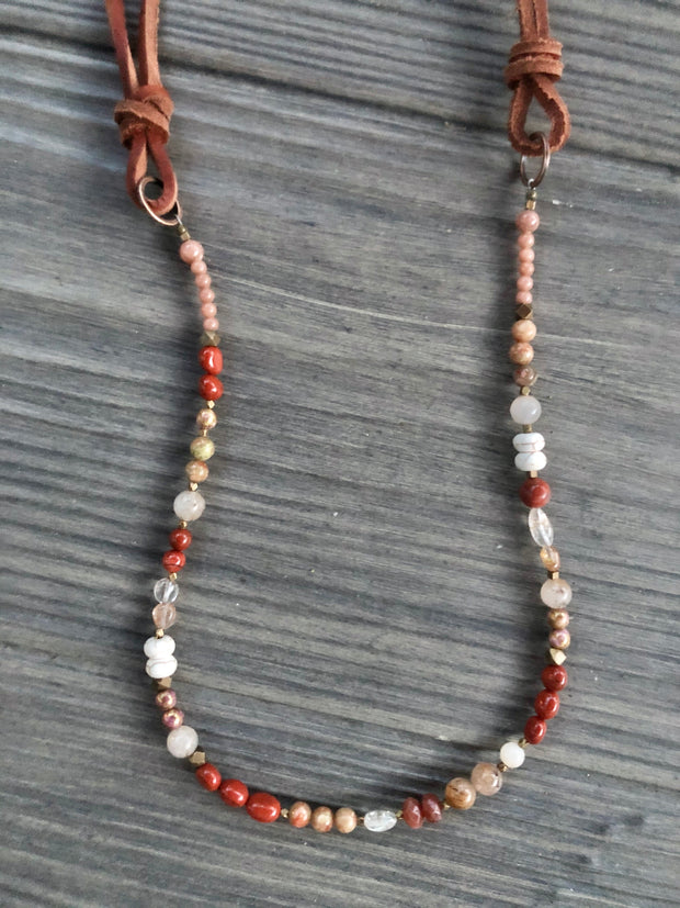 Red Jasper + Copper Rutile Quartz Necklace