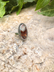 Red Crazy Lace Agate Ring {Size 7.25}