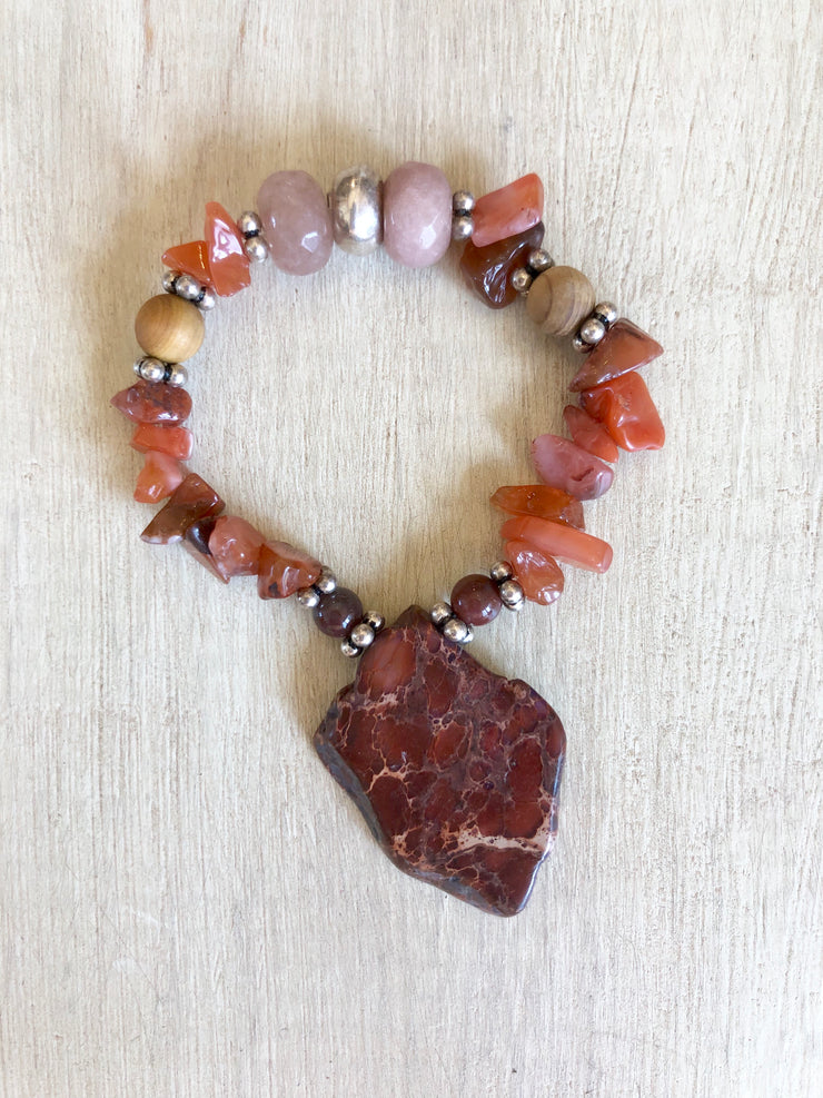 Jasper + Red Agate + Strawberry Quartz Bracelet