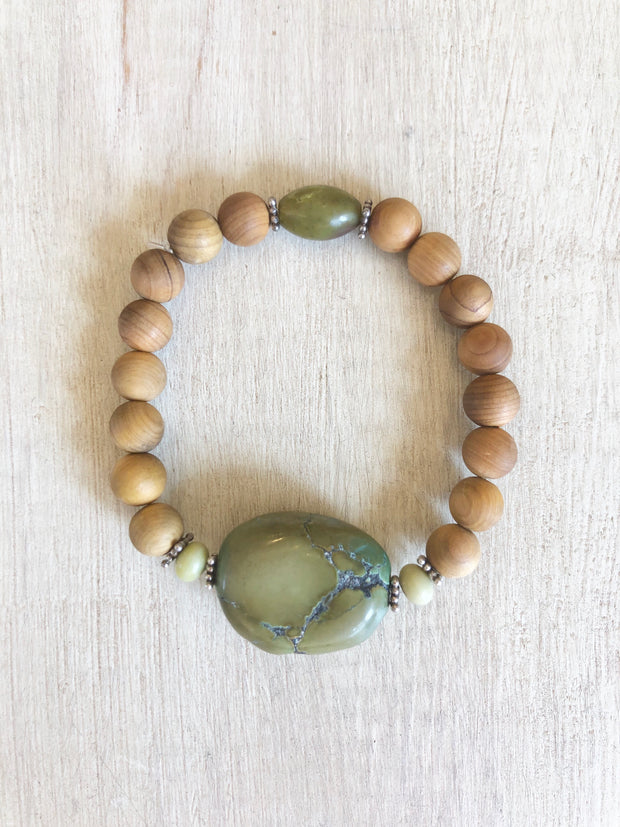 Chunky Green Turquoise Bracelet