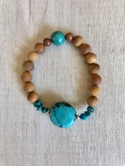Simple Turquoise + Rosewood Beaded Bracelet