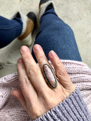 Feather Ridge Plume Agate Ring {Size 7.5}