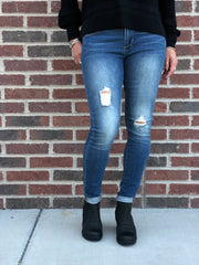 Sarah High Rise Frayed Denim