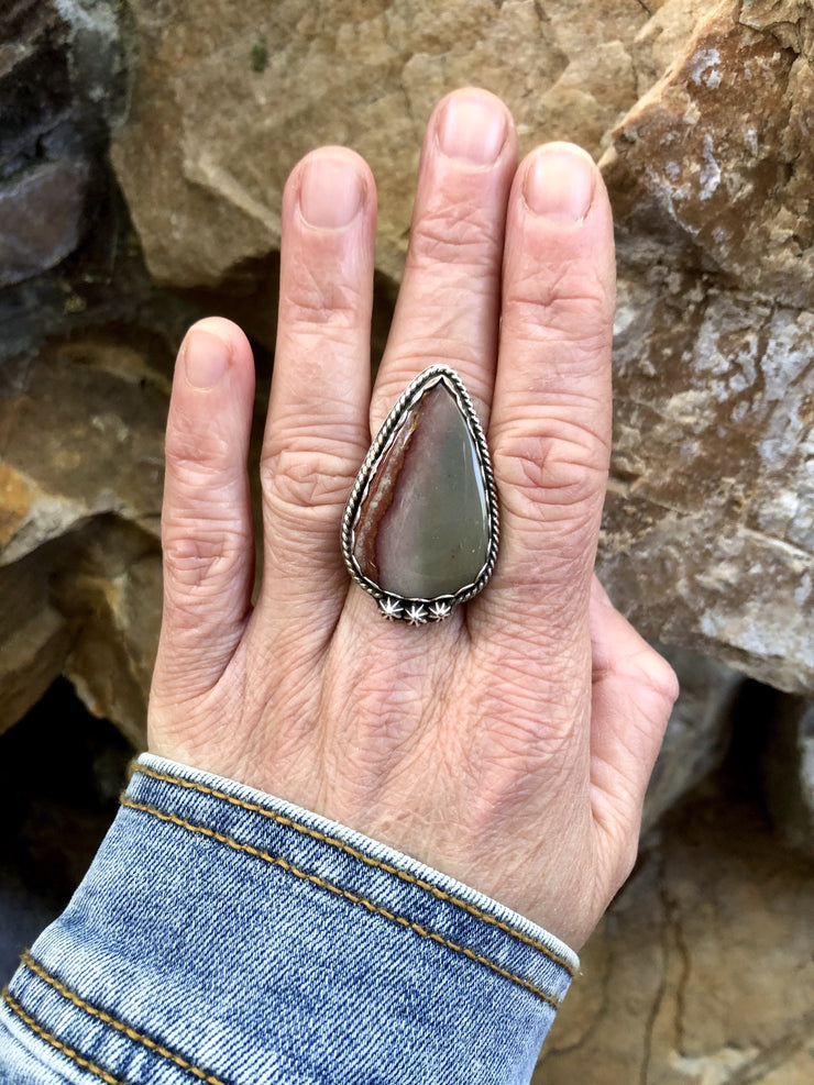 Teardrop Polychrome Jasper Ring [Size 8.5]