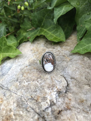 White Buffalo Turquoise Ring [Size 8.25/8.5]