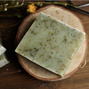 great for aromatherapy, this spearmint soap is organic and handmade, green with real spearmint