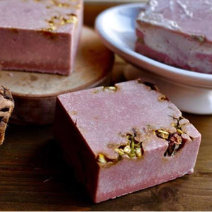 red wine soap weighs approximately 6 ounces it is pink and 3 by 3 inches