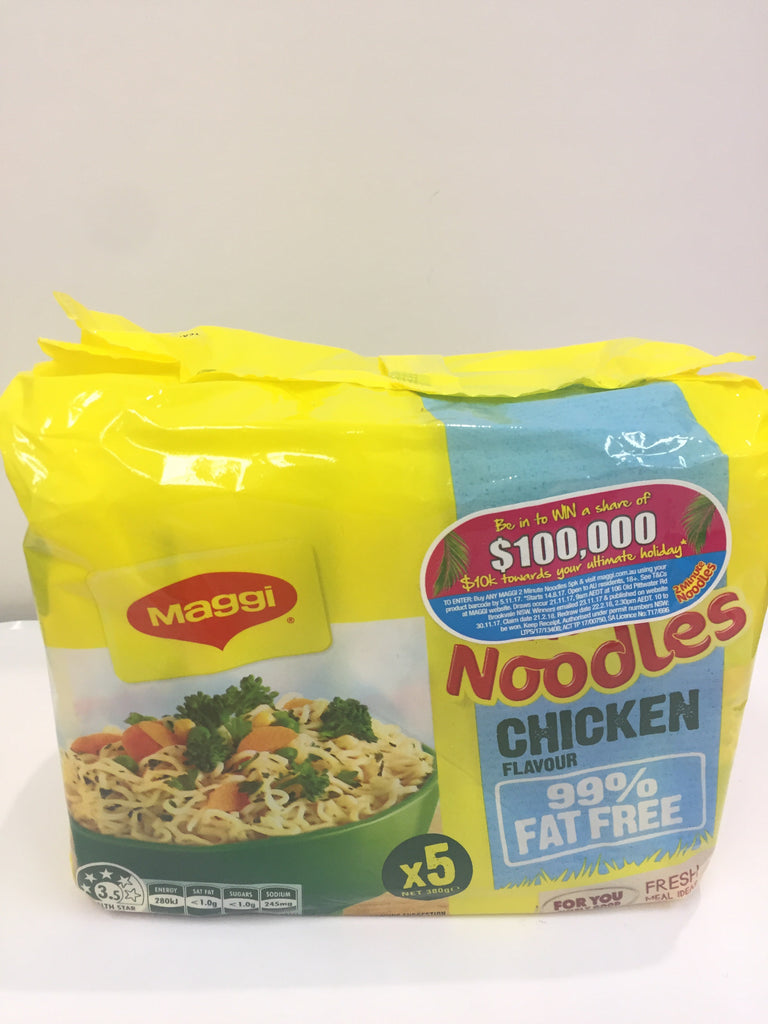 MAGGI 99% FAT FREE CHICKEN 2 MINTUE NOODLES 5 PACK Maggi 99%无脂速食面 鸡肉味 5连包
