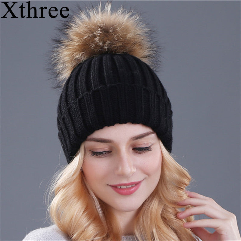 Winter Thick Fox Fur Ball Cap