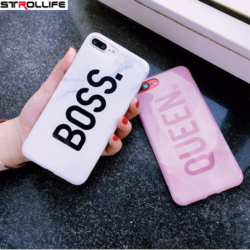 STROLLIFE Letters Queen & Boss Couples Phone Case