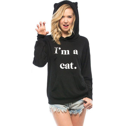 I'm A Cat Women's Cat Eared Pullover Hoodie - gifts for cat lovers - cat themed items - cat gifts - purfectpetgifts