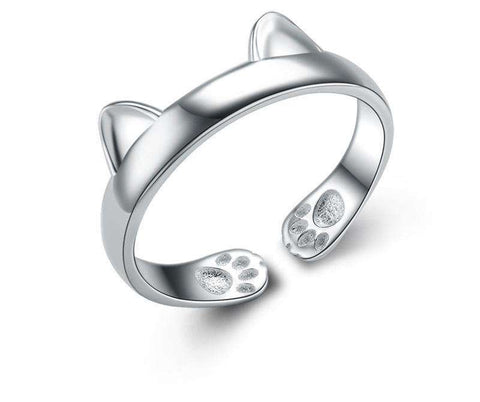 Cute Cat Ears Adjustable Size Sterling Silver Ring - gifts for cat lovers - cat themed items - cat gifts - purfectpetgifts