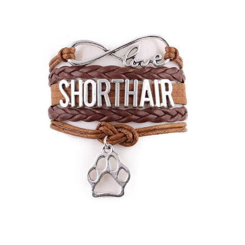 Handcrafted Leather Short Hair Cat Lover's Bracelet - gifts for cat lovers - cat themed items - cat gifts - purfectpetgifts