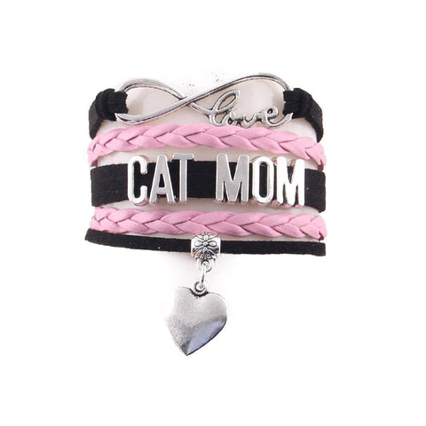 "Handcrafted Leather ""Cat Mom' Cat Lover's Bracelet [variant_title]"