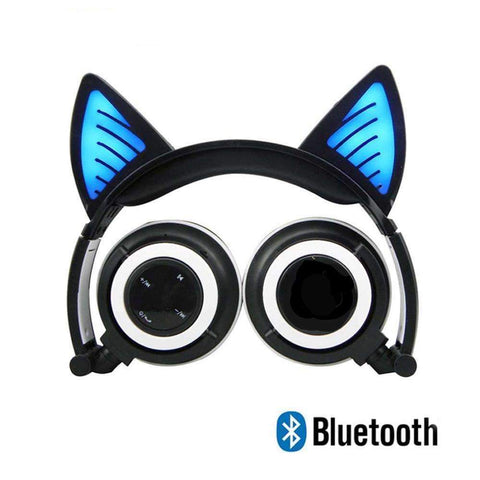 Bluetooth LED Wireless Cat Ear Headphones With Foldable Headband - gifts for cat lovers - cat themed items - cat gifts - purfectpetgifts