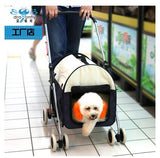 Multifunctional Super large folding pet gear for large dog loading 15kg four wheel folded Pet Stroller/Dog Strollers Navy Blue / L