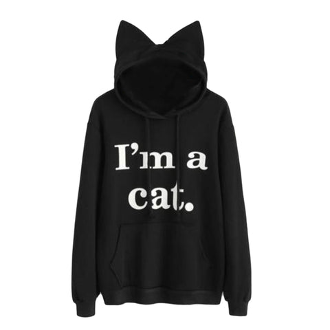 I'm A Cat Women's Cat Eared Pullover Hoodie Black / Small
