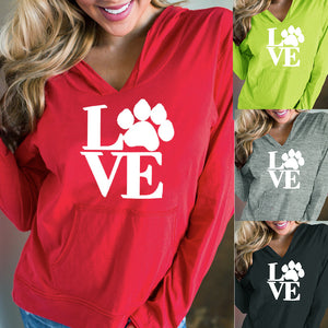 """Love"" Paw Print Hoodie - gifts for cat lovers - cat themed items - cat gifts - purfectpetgifts"