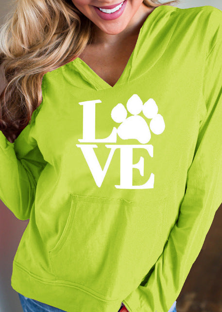 Love Paw Print Hoodie - gifts for cat lovers - cat themed items - cat gifts - purfectpetgifts