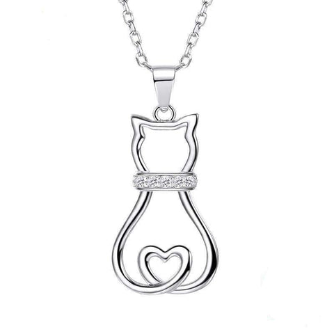Sterling Silver Cat Lovers Pendant Necklace - gifts for cat lovers - cat themed items - cat gifts - purfectpetgifts