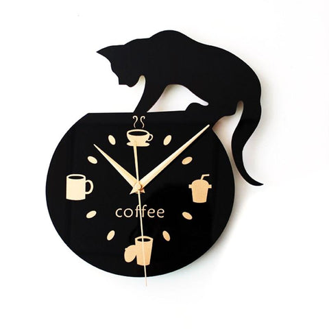 Coffee and Cat Lover's Clock - gifts for cat lovers - cat themed items - cat gifts - purfectpetgifts