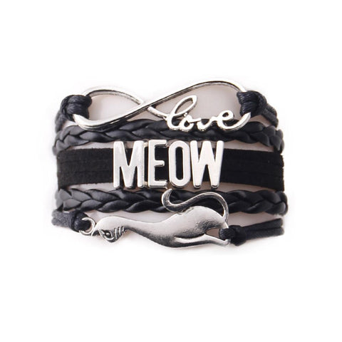 "Handcrafted Leather ""Meow"" Cat Lover's Bracelet - gifts for cat lovers - cat themed items - cat gifts - purfectpetgifts"