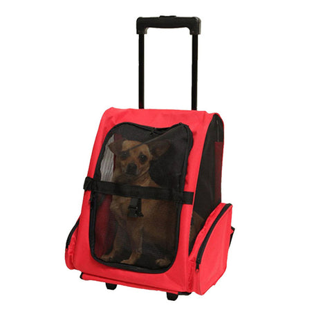 Fashion Small Animal Pet Puppy Carrier Backpack Chihuahua Rabbit Cat Luggage Travel Tote Trolley Bags for Dogs Stroller Crate red