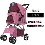 Outdoor Pet Cart Dog Cat Carrier Pet Stroller   Multicolor 600D Oxford Cloth Steel Pipe High-intensity  4-wheels One-key Folding as photo-2 / M