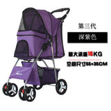 Outdoor Pet Cart Dog Cat Carrier Pet Stroller   Multicolor 600D Oxford Cloth Steel Pipe High-intensity  4-wheels One-key Folding as photo-5 / M