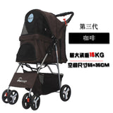 Outdoor Pet Cart Dog Cat Carrier Pet Stroller   Multicolor 600D Oxford Cloth Steel Pipe High-intensity  4-wheels One-key Folding as photo-6 / M