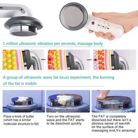 3 In 1 Ultra Slim Ultrasonic Fat Cellulite Remover Slimming Massager