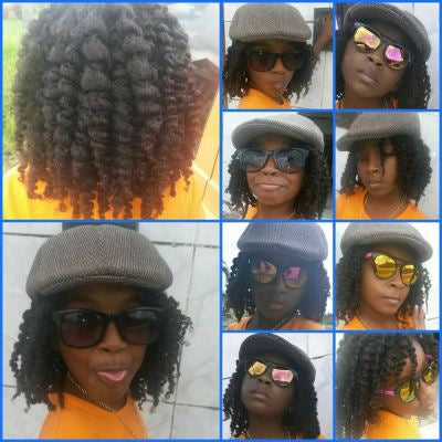 Cherilice showing off the result of the Going Natural hair care products