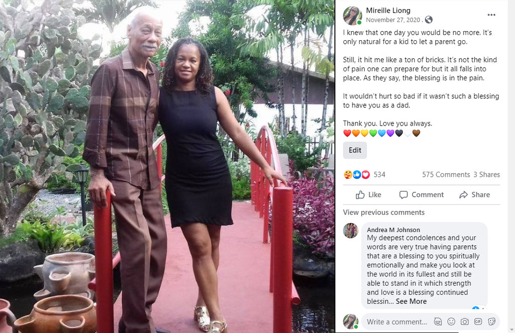 Mireille Liong with her dad Daisy Liong-A-Kong