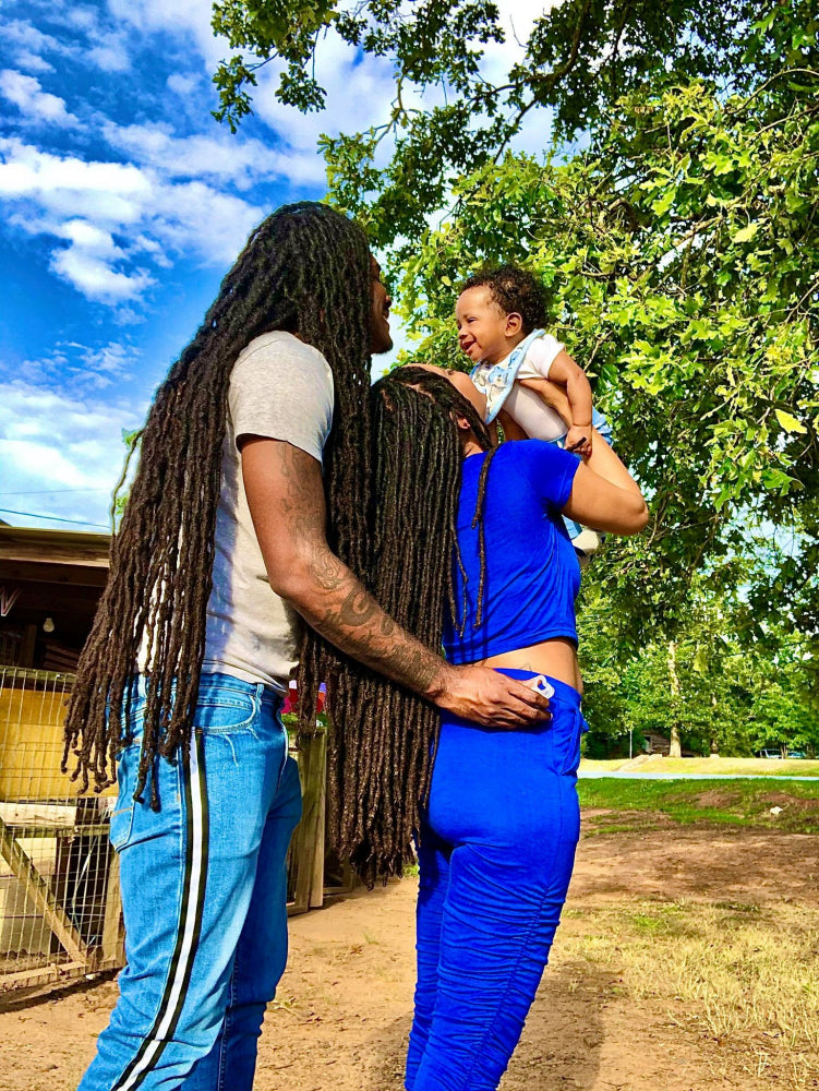 Black Love Kenneya & Bookai loced couple with their son