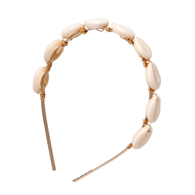 Cowrie shell headband for 4C hair, locs and braids