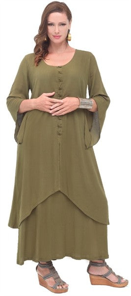 Asian Knot Closure Layered Bell Sleeve Maxi Long Dress