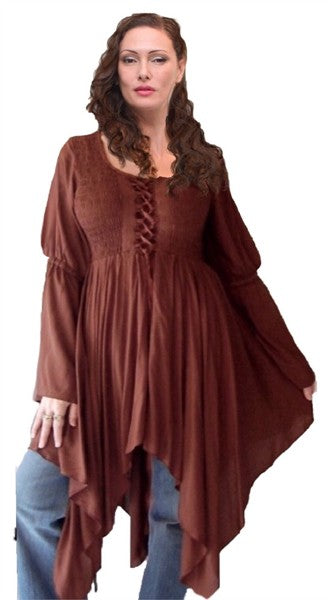 Smocked Laced Bodice Pixie Hem Gypsy Top Blouse