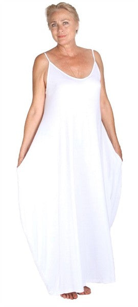 Stretch Jersey Slip Style Spaghetti Strap Maxi Dress