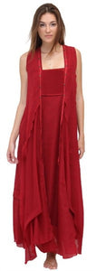 Dark Blood Red Empire Bust Asym Full Slip Maxi Dress