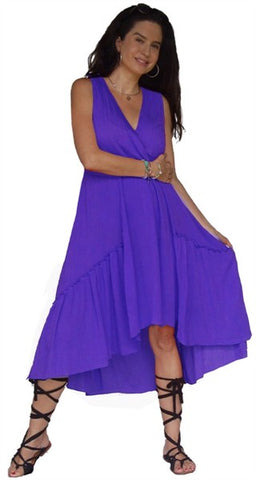 Cross Over Bodice Ruffle Hem High Low Knee Length Dress