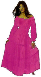 Mexican Peasant Gypsy Maxi Dress With Ruffled Sleeves