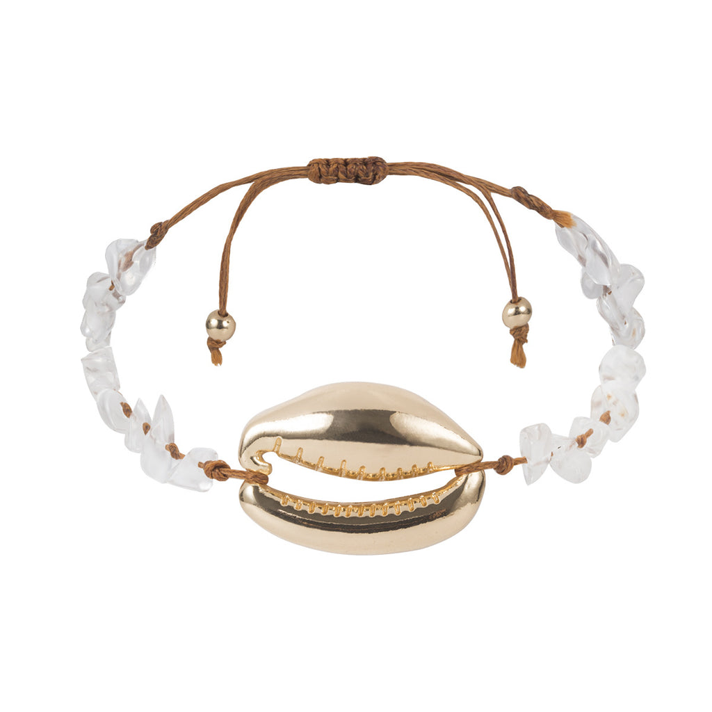Cowrie Shell Bracelet in natural and gold