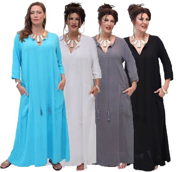 Casual Hostess Curved Pocket 3/4 Sleeve Maxi Dress