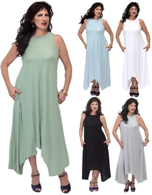 Stretch Jersey Lagenlook Maxi Long Dress