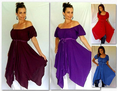 Stunning Plain Color Short Sleeve Peasant Gypsy Blouse
