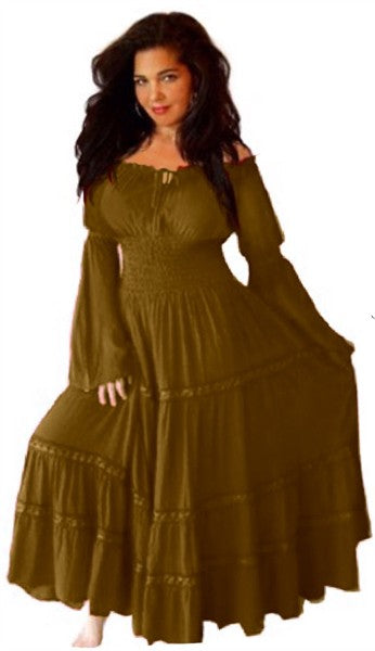 Boho Chic Peasant Dress Maxi Elastic Waist