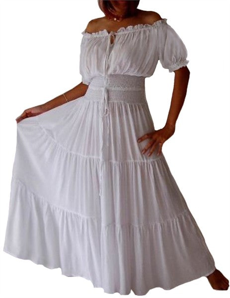 Stunning Short Sleeve Mexican Peasant Dress