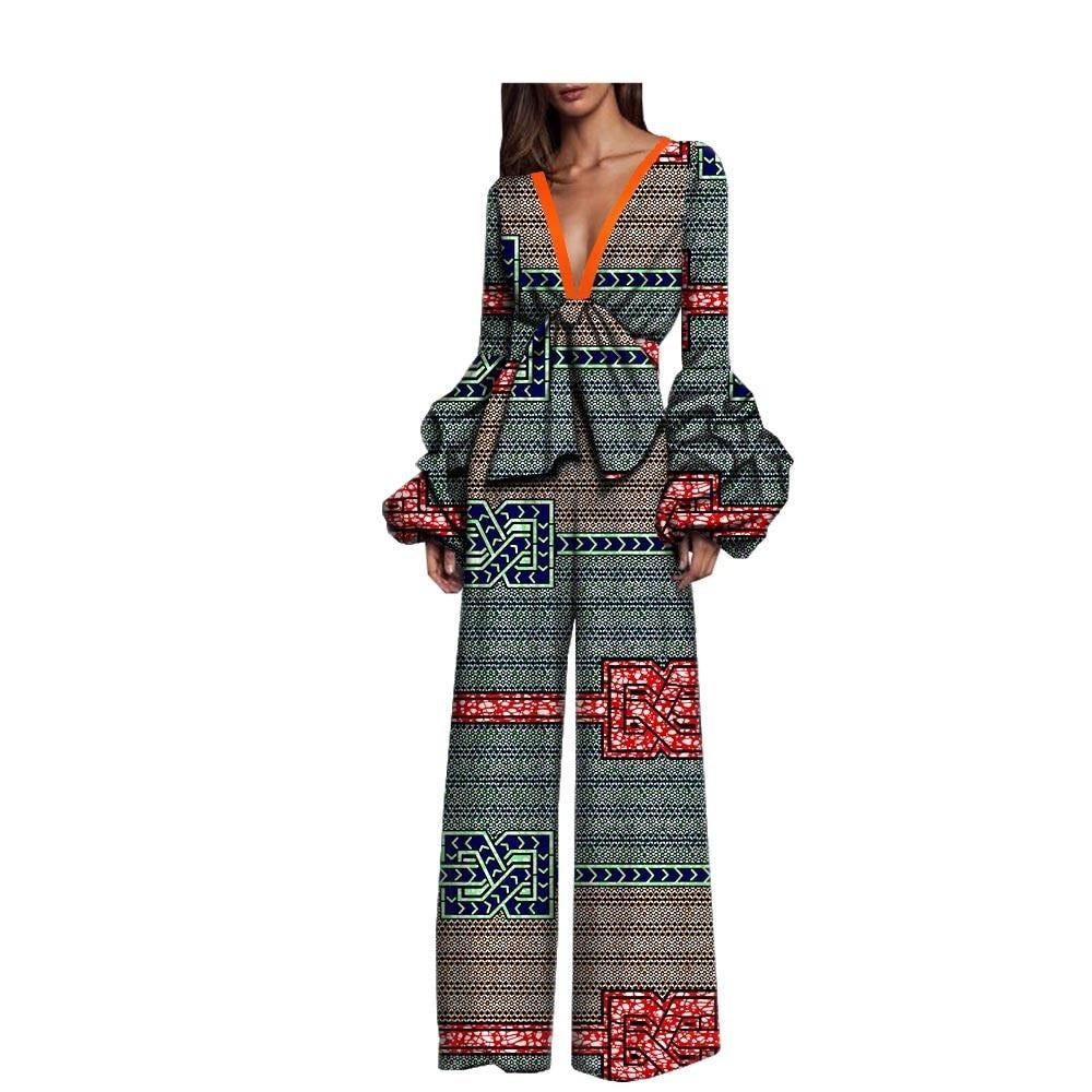 African Jumpsuit with full puff sleeve and deep v-neck